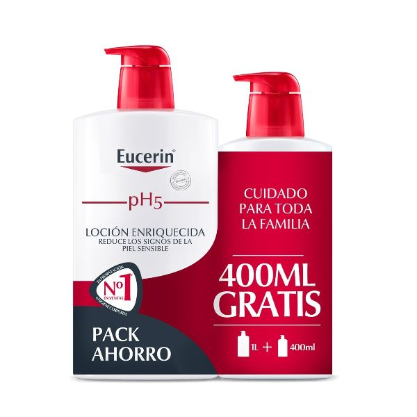 eucerin family pack ph5 skin protection locion enriquecida 1l plus 400ml